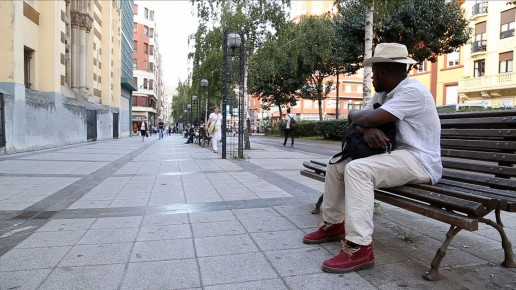 Yves is sitting lonely on a bench in Bilbao